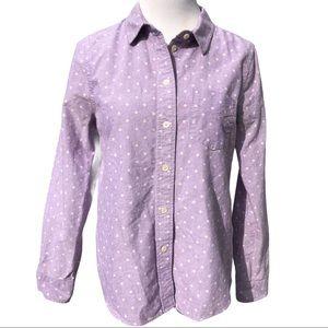 Madewell purple polka dot button down shirt